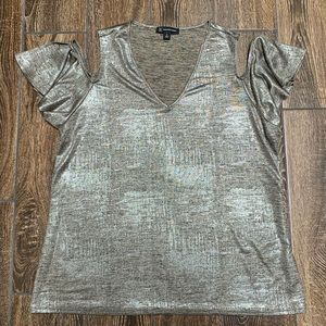 Shiny silver cold shoulder ruffle sleeve top